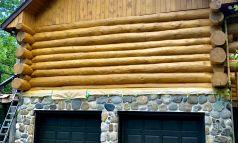 Décapage chalet bois rond - APRÈS